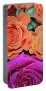 Orange And White With Pink Tip Roses Portable Battery Charger
