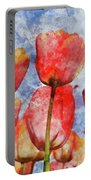 Orange And Yellow Tullips With Blue Sky Portable Battery Charger