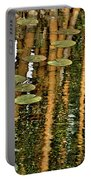 Orange Bamboo Abstract, Reflection On Water Portable Battery Charger