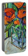Orange Bloom - Textured Impressionist Palette Knife Oil Painting Mona Edulesco Portable Battery Charger