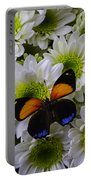 Orange Blue Butterfly On Poms Portable Battery Charger