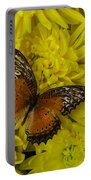 Orange Butterfly On Yellow Mums Portable Battery Charger