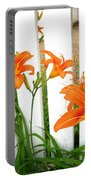 Orange Daylily At Colonial Williamsburg Portable Battery Charger