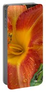 Orange Daylily With Dew Portable Battery Charger