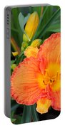 Orange Gladiola Flower And Buds Portable Battery Charger