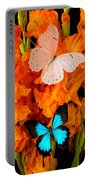 Orange Glads With Two Butterflies Portable Battery Charger