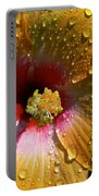 Orange Hibiscus II With Water Droplets Portable Battery Charger