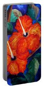 Orange Hibiscus Portable Battery Charger by Lil Taylor
