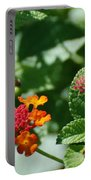 Orange  Red Flowers Portable Battery Charger