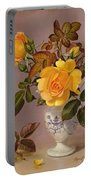 Orange Roses In A Blue And White Jug Portable Battery Charger
