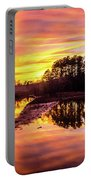 Orange Sunset Over Lake Portable Battery Charger