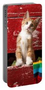 Orange Tabby Kitten In Red Drawer  Portable Battery Charger