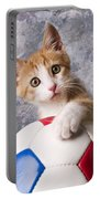 Orange Tabby Kitten With Soccer Ball Portable Battery Charger