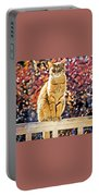 Orange Tabby On Porch Rail Portable Battery Charger