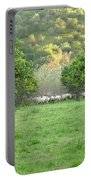 Orange Trees And Sheep Flock Portable Battery Charger
