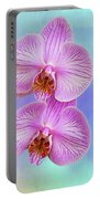 Orchid Delight - Two Blooms Against A Rainbow Background Portable Battery Charger