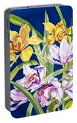 Orchids In Blue Portable Battery Charger