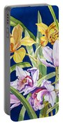 Orchids In Blue Portable Battery Charger by Lucy Arnold