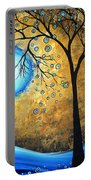 Orginal Abstract Landscape Painting Blue Fire By Madart Portable Battery Charger