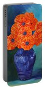 Oriental Poppies In Blue Portable Battery Charger