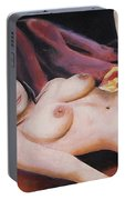 Original Fine Art Female Nude Sitting  Background Red Multimedia Painting Portable Battery Charger