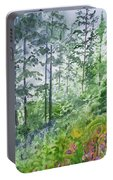 Original Watercolor - Summer Pine Forest Portable Battery Charger