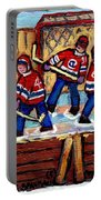 Pointe St Charles Hockey Rink Painting Leafs Vs Habs Quebec Winter Scene Hockey Art Carole Spandau Portable Battery Charger