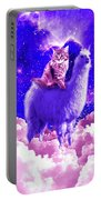 Outer Space Galaxy Kitty Cat Riding On Llama Portable Battery Charger