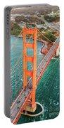 Overhead Aerial Of Golden Gate Bridge, San Francisco, Usa Portable Battery Charger