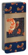 Owl And Moon On Midnight Blue Portable Battery Charger