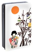 Owl In Bamboo By Mary Ellen Palmeri Portable Battery Charger
