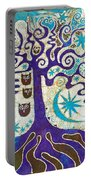 Owls In A Summer Tree Portable Battery Charger