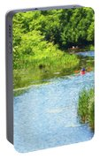 Paddling On A Calm Creek Portable Battery Charger