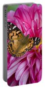 Painted Lady On Dahlia Portable Battery Charger