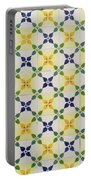 Painted Patterns - Floral Azulejo Tiles In Blue Green And Yellow Portable Battery Charger