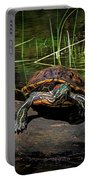 Painted Turtle Sunning Itself On A Log Portable Battery Charger