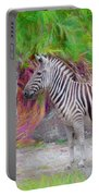 Painted Zebra Portable Battery Charger