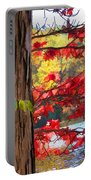 Painterly Rendition Of Red Leaves And Tree Trunk In Autumn Portable Battery Charger