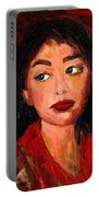 Painting Of A Dark Haired Girl Commissioned Art Portable Battery Charger