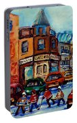 Paintings Of Montreal Hockey On Fairmount Street Portable Battery Charger