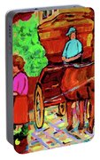 Paintings Of Montreal Streets Old Montreal With Flower Cart And Caleche By Artist Carole Spandau Portable Battery Charger
