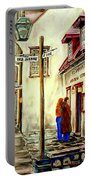 Paintings Of Quebec Landmarks Aux Anciens Canadiens Restaurant Rainy Morning October City Scene  Portable Battery Charger
