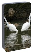 Pair Of Egrets Portable Battery Charger by George Randy Bass
