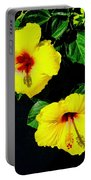 Pair Of Golden Hibiscus In Morning Sun Portable Battery Charger