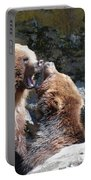 Pair Of Grizzly Bears Biting At Each Other Portable Battery Charger