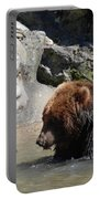 Pair Of Grizzly Bears Wading In A Shallow River Portable Battery Charger