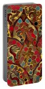 Paisley Fan In Dots  Portable Battery Charger