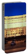 Palace Of Parliament At Night Portable Battery Charger