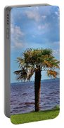 Palm Tree By The Lake Portable Battery Charger