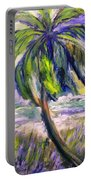Palm Tree On Windy Beach Portable Battery Charger
